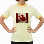 canadian-flag Women s Fitted Ringer T-Shirt