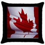 canadian-flag Throw Pillow Case (Black)