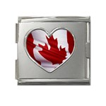 canadian-flag Mega Link Heart Italian Charm (18mm)