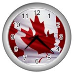 canadian-flag Wall Clock (Silver)