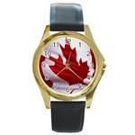 canadian-flag Round Gold Metal Watch