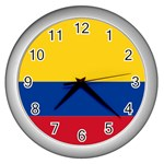 Flag_of_Colombia Wall Clock (Silver)