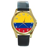 Flag_of_Colombia Round Gold Metal Watch