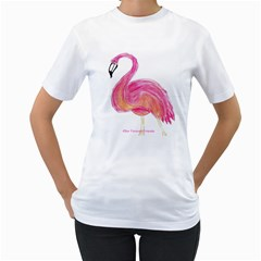 Flamingo Shirt By Libby   Women s T Shirt (white) (two Sided)   Izsxjm74imen   Www Artscow Com Front