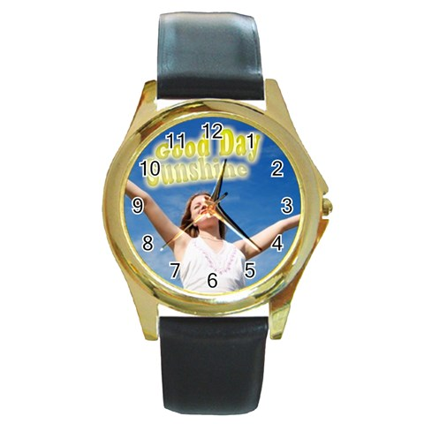 Sunshine By Wood Johnson   Round Gold Metal Watch   Dgt31go80g0r   Www Artscow Com Front