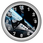 SpaceShip.jpg space travel Wall Clock (Silver)