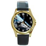 SpaceShip.jpg space travel Round Gold Metal Watch