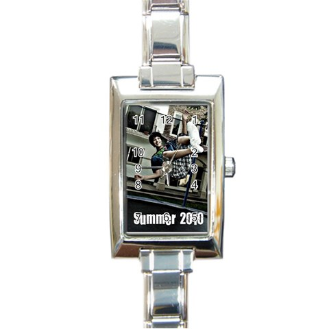 My New Watch By Maria Ramos De Lopez   Rectangle Italian Charm Watch   Zz46vx6c0p4d   Www Artscow Com Front