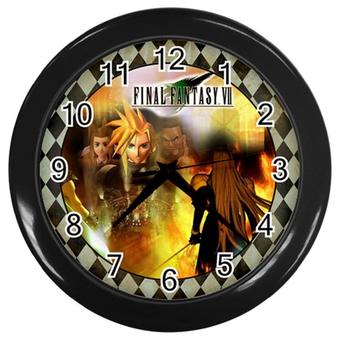Final Fantasy Clock By Charity   Wall Clock (black)   G0ewm8el2i74   Www Artscow Com Front