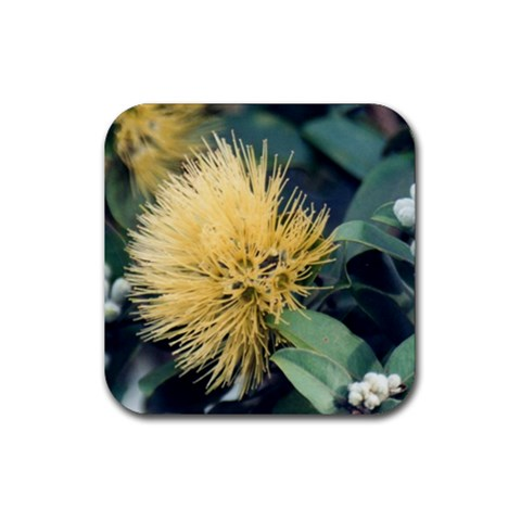 Yellow Lehua Coaster By Janet   Rubber Coaster (square)   0btyjfot9ylz   Www Artscow Com Front