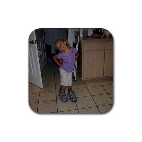 Rosie With David s Shoes!! By Kathy Franks   Rubber Coaster (square)   Slf0dmroa6zl   Www Artscow Com Front