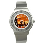 sea_sunset_India_love_forever Stainless Steel Watch