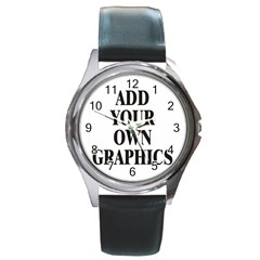 Custom Watch Face Round Metal Watch by digitalmonkey