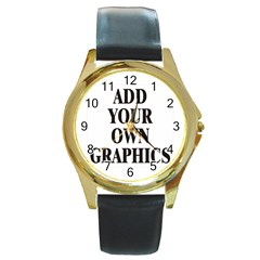 Custom Watch Face Round Gold Metal Watch by digitalmonkey