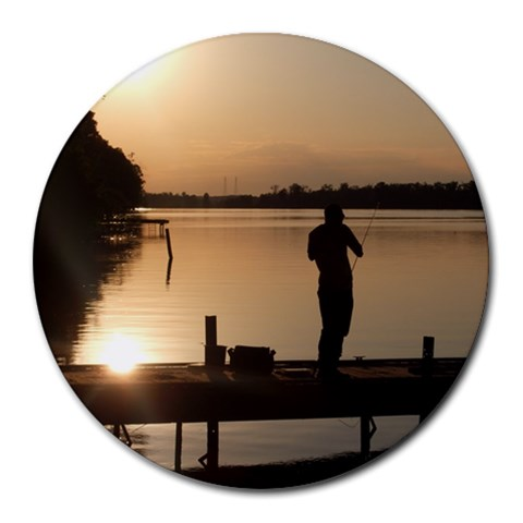 Fishin In The Evening Sun By Susan Ivy Hester   Round Mousepad   Tln1iym3nkf7   Www Artscow Com Front