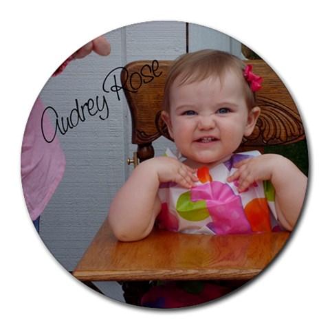 Audrey2 By Melissa Wlasniewski   Round Mousepad   7d9znqhcm03p   Www Artscow Com Front