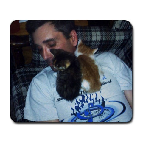 Boyfriend And Kittens By Amy E  Brodock   Large Mousepad   Agcmmhwtquq3   Www Artscow Com Front