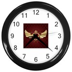 vector-winged-shield-13-by-dragonart Wall Clock (Black)