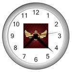 vector-winged-shield-13-by-dragonart Wall Clock (Silver)