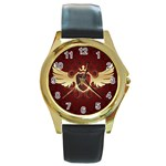 vector-winged-shield-13-by-dragonart Round Gold Metal Watch