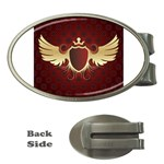 vector-winged-shield-13-by-dragonart Money Clip (Oval)