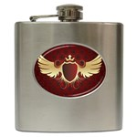 vector-winged-shield-13-by-dragonart Hip Flask (6 oz)