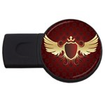 vector-winged-shield-13-by-dragonart USB Flash Drive Round (1 GB)
