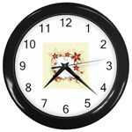 vector-silk-flower-design-card-02-by-dragonart1 Wall Clock (Black)