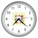 vector-silk-flower-design-card-02-by-dragonart1 Wall Clock (Silver)
