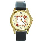 vector-silk-flower-design-card-02-by-dragonart1 Round Gold Metal Watch