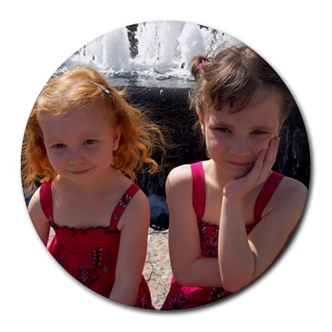 My Beautiful Girls!  By Heather Denney   Round Mousepad   Vcsy9v3ryidl   Www Artscow Com Front