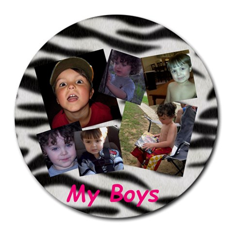 Boys Mousepad By Stacie Bennett   Collage Round Mousepad   Wdh6knsgpt84   Www Artscow Com 8 x8 Round Mousepad - 1