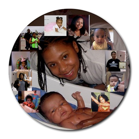 Ari And Marishka Boo By Andrea Josiah   Collage Round Mousepad   P02os7cksniv   Www Artscow Com 8 x8 Round Mousepad - 1