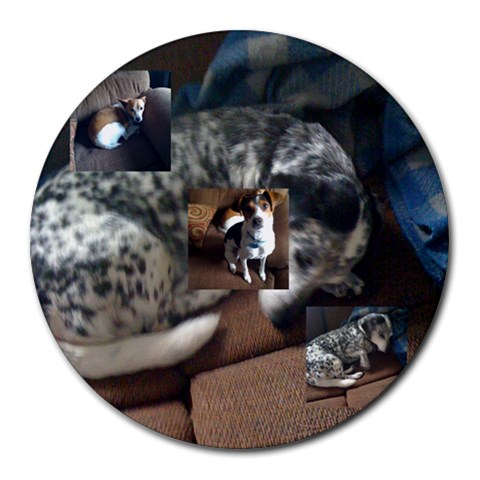Dog Pad By John W Brokaw   Collage Round Mousepad   Bhoq67zs4sx3   Www Artscow Com 8 x8 Round Mousepad - 1