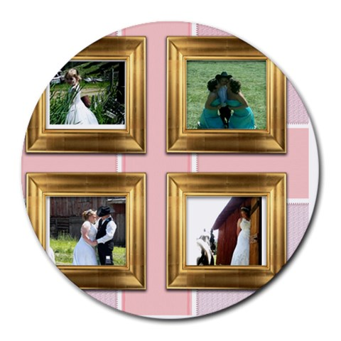 Wedding By Marsa Vincent   Collage Round Mousepad   Isymmu6zpd5j   Www Artscow Com 8 x8 Round Mousepad - 1