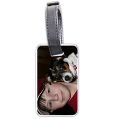 Jacob s luggage tag with him & Miley photo and address by Wendy Green Front