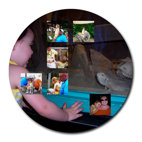 Zoo By Deanna Fields   Collage Round Mousepad   0owugobfdpgu   Www Artscow Com 8 x8 Round Mousepad - 1