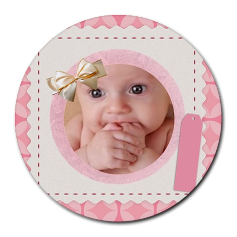 Baby Mousepad By Joely   Round Mousepad   Hx98h4kjvdd3   Www Artscow Com Front