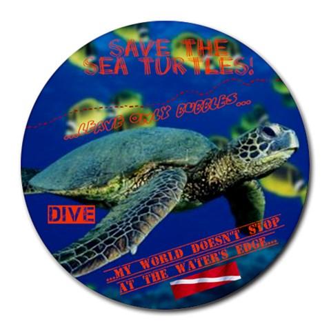 Sea Turtle Dive Mousepad By Megan Baird   Collage Round Mousepad   2ku69bq8gwmi   Www Artscow Com 8 x8  Round Mousepad - 1
