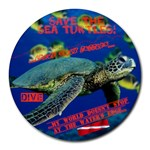 Sea Turtle Dive Mousepad - Collage Round Mousepad