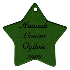 Hannah Ornament 2009 By Sharon   Star Ornament (two Sides)   Rb36yfiinxpl   Www Artscow Com Back