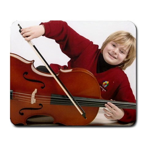 Jordan With His Cello By Judy Ginn  Patterson   Large Mousepad   9vorejvfggyo   Www Artscow Com Front