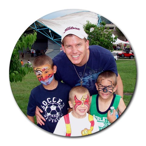 The Facepaint Boys! By Kimberly Schreiber   Round Mousepad   5sf8qmugecvv   Www Artscow Com Front