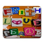 FAITH LOVE PEACE mousepad - Large Mousepad