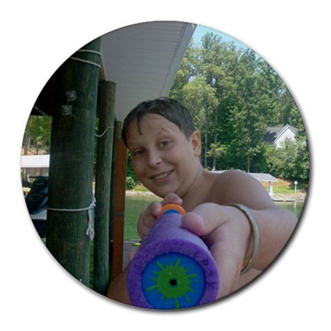 Ta W/ Watergun By Joanna L Durham   Round Mousepad   4bb2e9qkxene   Www Artscow Com Front