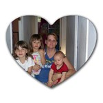 Mamaw Debbie and daughter/grandkids - Heart Mousepad