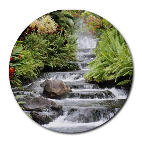 Waterfall By Doris Kane   Round Mousepad   Le27uajd2bvk   Www Artscow Com Front