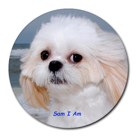 Sam I Am By Barbara Bebee Burgess Kittle   Collage Round Mousepad   3vawikq4w8un   Www Artscow Com 8 x8 Round Mousepad - 1