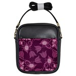Purple Tulips Squares Girls Sling Bag