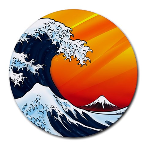 Japanese Wave Mousepad By Jeff Mcclain   Round Mousepad   Cij40k8y9wku   Www Artscow Com Front